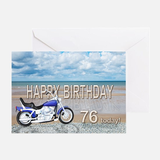 76th birthday card with a motor bike Greeting Card