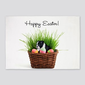 Happy Easter Boston Terrier 5'x7'Area Rug