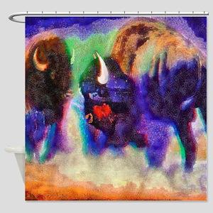 Rainbow Bison Shower Curtain