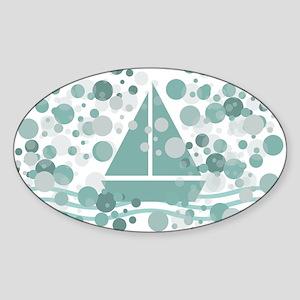 Cute Sailor Boat Mint Sticker (Oval)