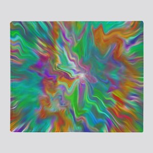 Green psychedelic color field  Throw Blanket