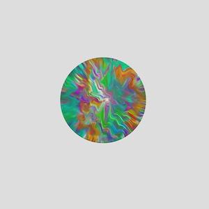 Green psychedelic color field  Mini Button