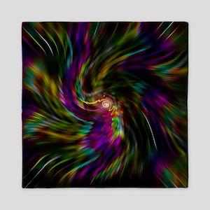 Trippy psychedelic rainbow vortex Queen Duvet