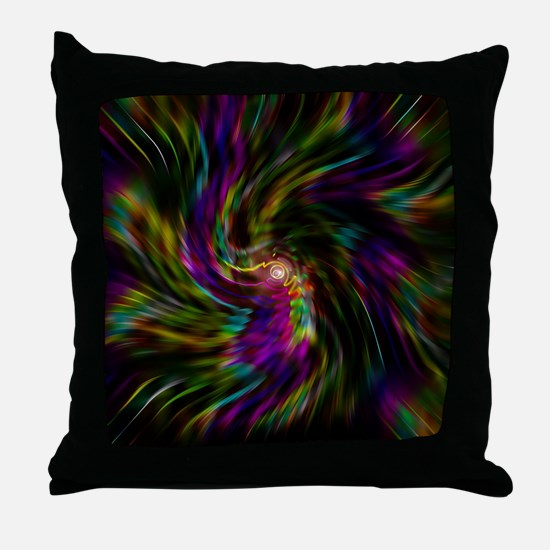Trippy psychedelic rainbow vortex Throw Pillow