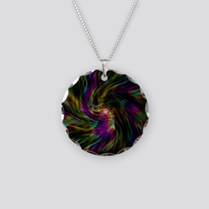 Trippy psychedelic rainbow v Necklace Circle Charm