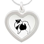 Keeshond Graphics Silver Heart Necklace
