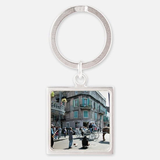 New Orleans street Musician Square Keychain