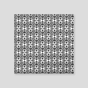 "Black & White Damask 29 Square Sticker 3"" x 3"""