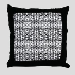 Black & White Damask 29 Throw Pillow