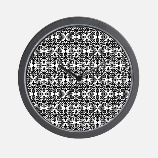 Black & White Damask 29 Wall Clock