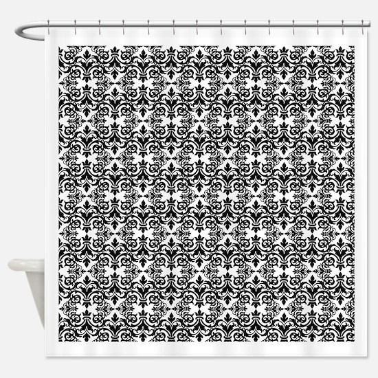 Black & White Damask 29 Shower Curtain