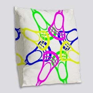 Lacrosse Neon Heads Burlap Throw Pillow