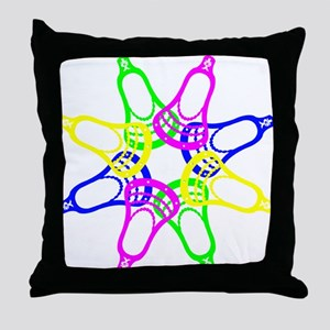 Lacrosse Neon Heads Throw Pillow