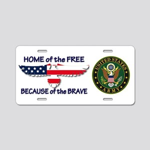USArmy Home of the Free Aluminum License Plate