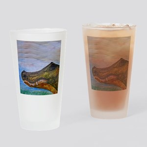 Alligator Head Art Drinking Glass