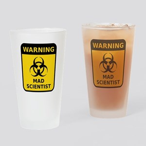 Mad Scientist Warning Sign Drinking Glass
