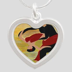 Ballroom Dancers Silver Heart Necklace