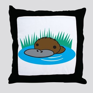Silly Platypus in the Water Throw Pillow