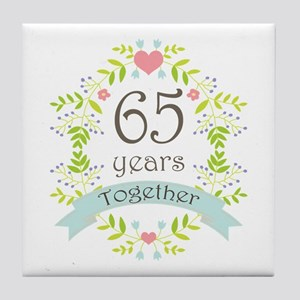 65th Anniversary flowers and hearts Tile Coaster