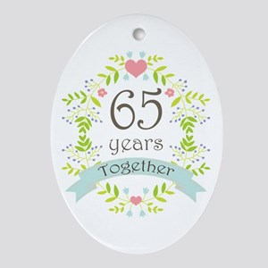 65th Anniversary flowers and heart Ornament (Oval)