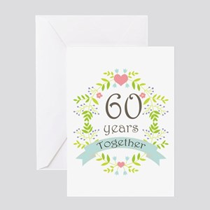 60th Anniversary flowers and hearts Greeting Card