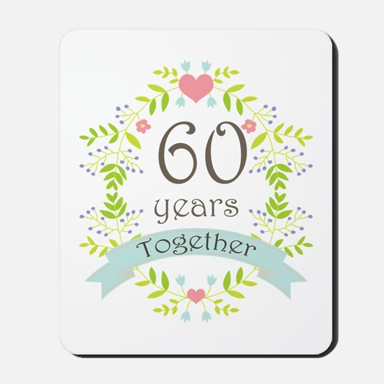 60th Anniversary flowers and hearts Mousepad