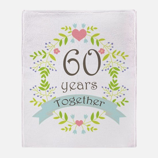 60th Anniversary flowers and hearts Throw Blanket