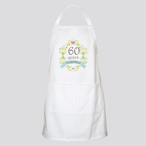 60th Anniversary flowers and hearts Apron