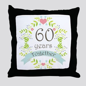 60th Anniversary flowers and hearts Throw Pillow