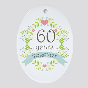 60th Anniversary flowers and heart Ornament (Oval)