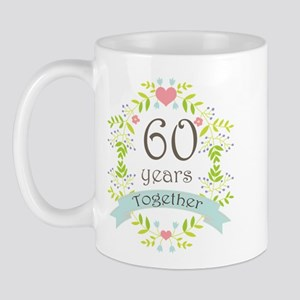 60th Anniversary flowers and hearts Mug