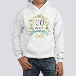60th Anniversary flowers and hea Hooded Sweatshirt