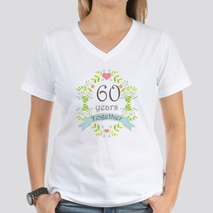 60th Anniversary flowers an Women's V-Neck T-Shirt