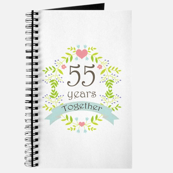 55th Anniversary flowers and hearts Journal