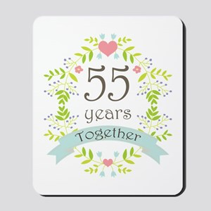 55th Anniversary flowers and hearts Mousepad