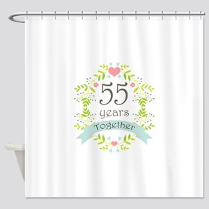 55th Anniversary flowers and hearts Shower Curtain
