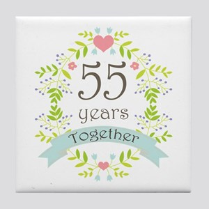 55th Anniversary flowers and hearts Tile Coaster
