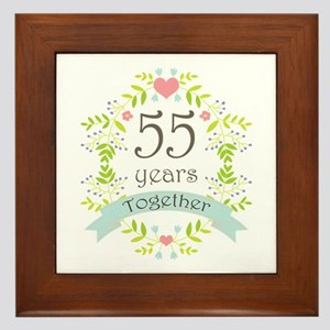 55th Anniversary flowers and hearts Framed Tile