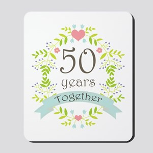 50th Anniversary flowers and hearts Mousepad