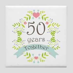 50th Anniversary flowers and hearts Tile Coaster