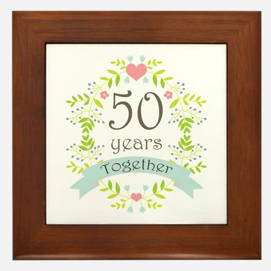 50th Anniversary flowers and hearts Framed Tile