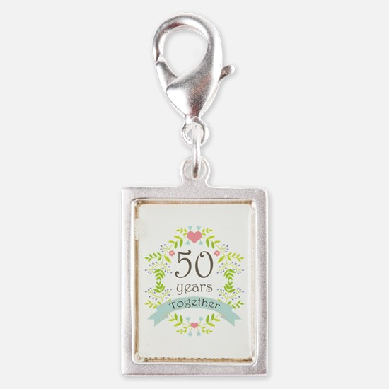 50th Anniversary flowers and Silver Portrait Charm