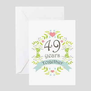 49th Anniversary flowers and hearts Greeting Card