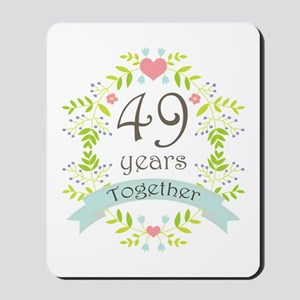 49th Anniversary flowers and hearts Mousepad