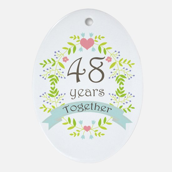 48th Anniversary flowers and heart Ornament (Oval)