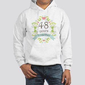 48th Anniversary flowers and hea Hooded Sweatshirt