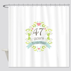 47th Anniversary flowers and hearts Shower Curtain