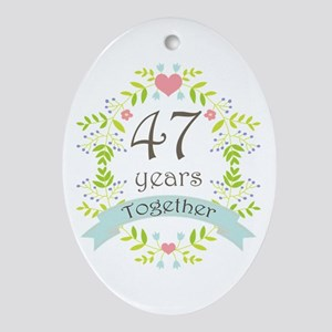 47th Anniversary flowers and heart Ornament (Oval)
