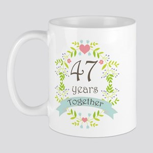 47th Anniversary flowers and hearts Mug