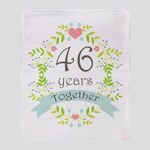 46th Anniversary flowers and hearts Throw Blanket